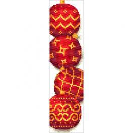 W 10688 Cross stitch pattern PDF - Bookmark with Christmas balls
