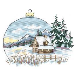 W 10343-01 Cross stitch pattern PDF - View with a Christmas ball