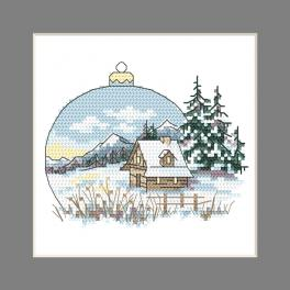 W 10343 Cross stitch pattern PDF - Postcard - Christmas ball with a view