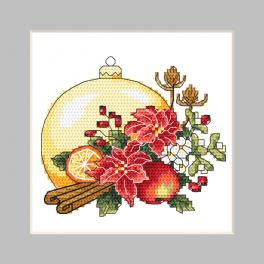 W 10344 Cross stitch pattern PDF - Postcard - Christmas ball with a Christmas composition