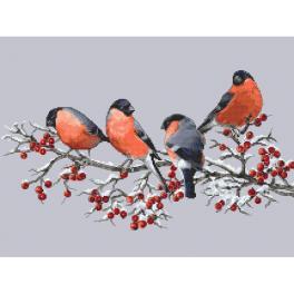 W 10329 Cross stitch pattern PDF - Bullfinches on a twig