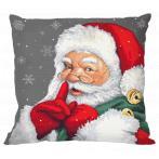 W 10477-01 Cross stitch pattern PDF - Cushion - Mischievous Santa Claus