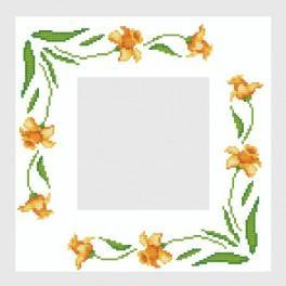 Napkin with daffadils - Cross Stitch pattern