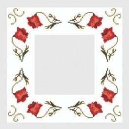 Napkin with poppies - Cross Stitch pattern