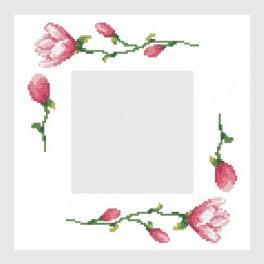 Napkin with magnolias - Cross Stitch pattern
