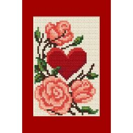 Occasional card - Heart with roses - Cross Stitch pattern