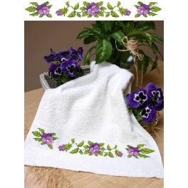 Towel with pansies - Cross Stitch pattern