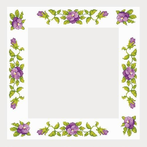 Cross Stitch Pattern Tablecloth With Pansies Coricamo