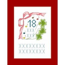 Greeting card - 18 years old - Cross Stitch pattern