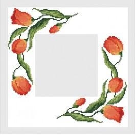 Napkin with tulips - Cross Stitch pattern