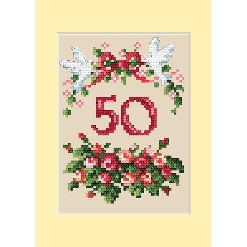 GU 4460-01 Cross stitch pattern - Anniversary card - Roses