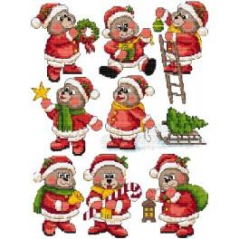 Cross stitch pattern - Christmas tree decorations - Teddy bears