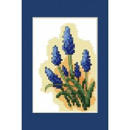 Easter postcard- Grape hyacinths - Cross Stitch pattern