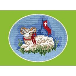 Easter postcard- Lamb - Cross Stitch pattern