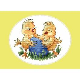 Easter postcard- Chicks - Cross Stitch pattern