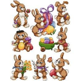Cross stitch pattern - Easter hares