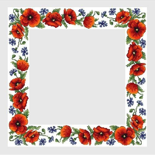 Cross Stitch Pattern Tablecloth With Wild Flowers Coricamo
