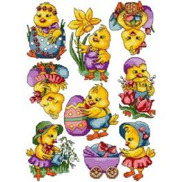 Cross stitch pattern - Easter chicks