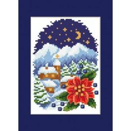 Christmas card - Landscape with Poinsettia - Cross Stitch pattern