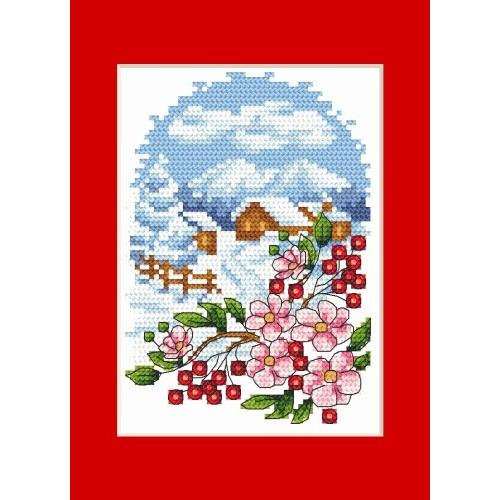 Christmas Card Landscape With Flowers Cross Stitch Pattern