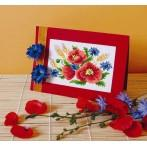 GU 4932 Greeting card - Poppies with cornflowers - Cross Stitch pattern