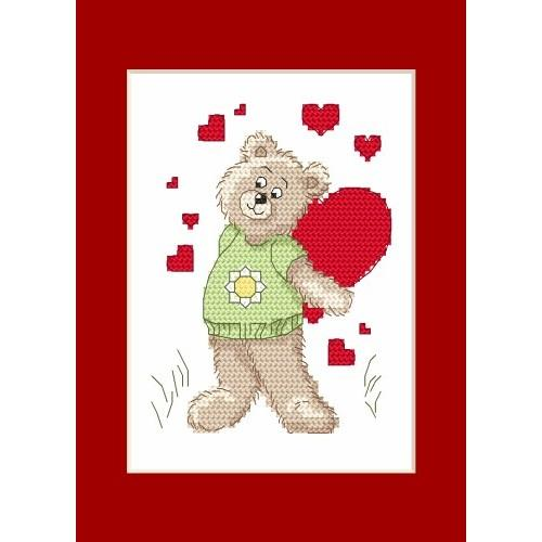 GU 4986 Cross stitch pattern - Valentine's Day card - Teddy Bear with a heart