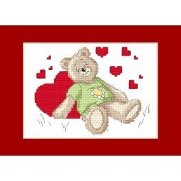 Cross stitch pattern - Valentine's Day card - Sleeping teddy