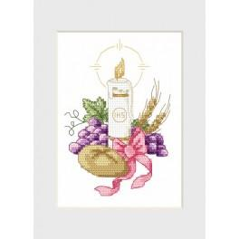 Holy communion card - Candle - Cross Stitch pattern