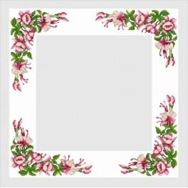 Table cloth with a Fuchsia - Cross Stitch pattern