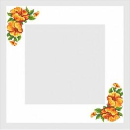 Table cloth with a Hibiscus - Cross Stitch pattern