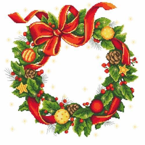 Cross stitch pattern - Tablecloth - Christmas wreath