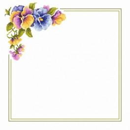 Napkin with pansies - Cross Stitch pattern