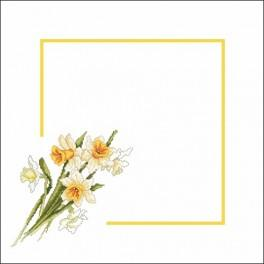 Napkin with narcissi - Cross Stitch pattern