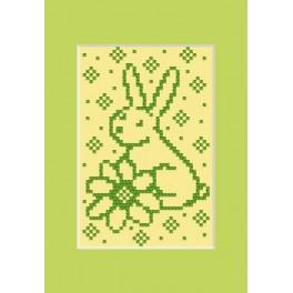 Easter Card - The hare with flower - Cross Stitch pattern
