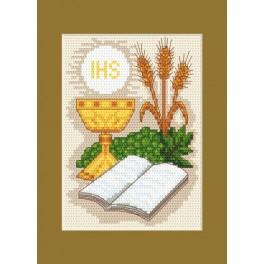Holy communion card - Holy Bible and grain ears - Cross Stitch pattern