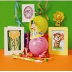 GU 8423 Birthday card - Violet flowers - Cross Stitch pattern