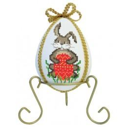Egg with rabbits and narcissi - Cross Stitch pattern