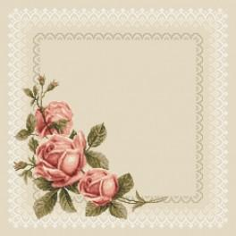 Napkin with roses - Cross Stitch pattern