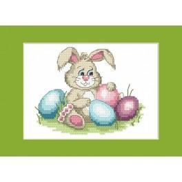 Easter card - Cheerful bunny - Cross Stitch pattern
