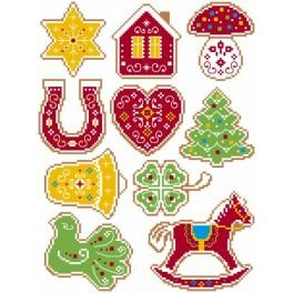 Cross stitch pattern - Christmas tree decorations - Embroidered gingerbread