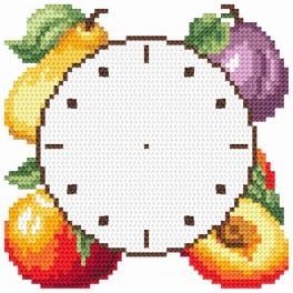 Wzór graficzny użytkowy - Zegar z owocami - Haft krzyżykowy