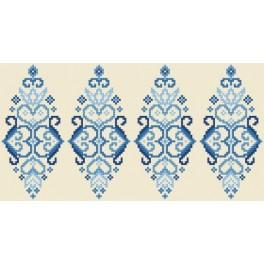 Cross stitch pattern - Easter egg - blue arabesque