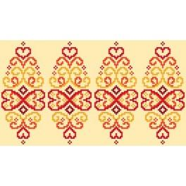 Cross stitch pattern - Easter egg - red arabesque