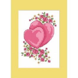 W 4984 ONLINE pattern pdf - Wedding card - Hearts