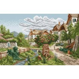 Online pattern - Mountain village landscape