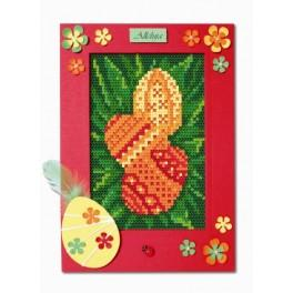W 8412-04 Pattern online - Easter Card - 3 easter eggs