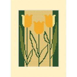 W 8413 Online pattern - Birthday card - Three tulips
