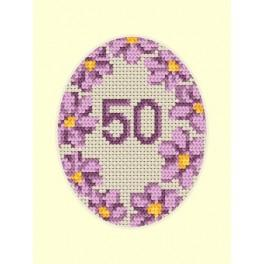 W 8423 Online pattern - Birthday card - Violet flowers