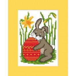 W 8458 ONLINE pattern pdf - Easter postcard - Bunny with Easter egg