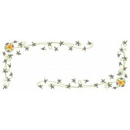 W 8464 ONLINE pattern pdf - Table runner - Daffodil with violas